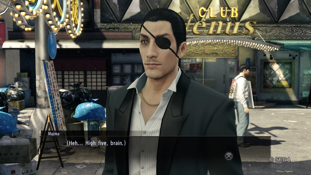 Majima high-fiving his brain