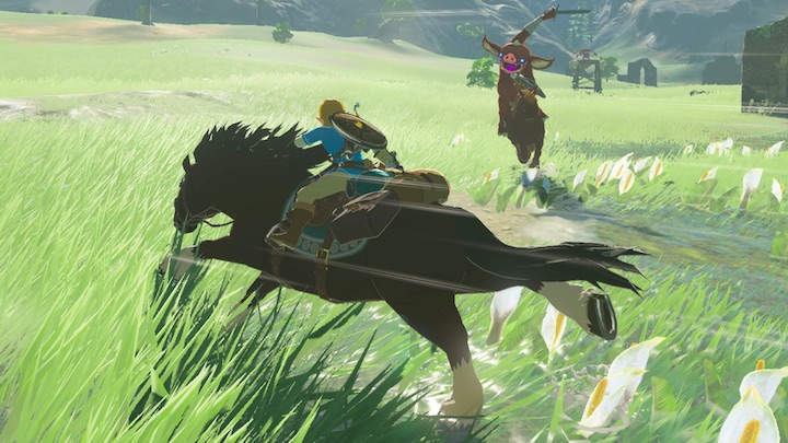 Link fights a bokoblin on horseback