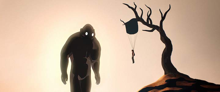 A boy hanging on a parachute from a tree, a creature watches him