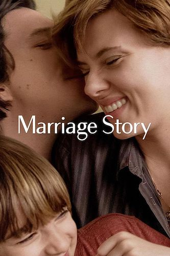 Adam Driver, Scarlet Johansson, and Azhy Robertson on the Marriage Story poster